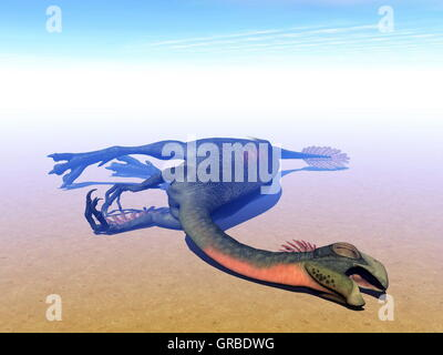 Dead gigantoraptor dinosaur - 3D render - Stock Photo