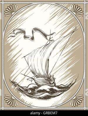 Vintage sailboat border drawing in engraving retro style. Vector illustration - Stock Photo