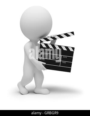 3d small people - clapper - Stock Photo