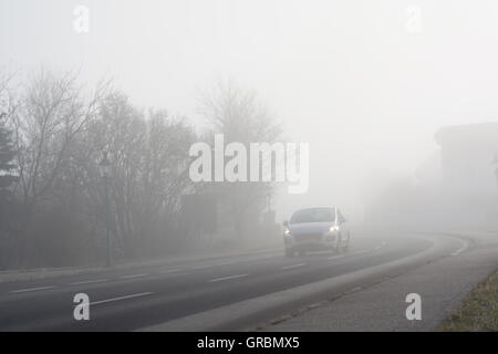 Impairment Of Visibility For Motorists By Fog - Stock Photo