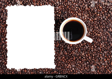 Coffee Bean And Coffee Cup With Window - Stock Photo