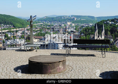 Upper Castle In Siegen With City Panorama - Stock Photo