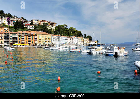 Costal Line Of Tuscan Town Porto Santo Stefano, Tuscany, Italy - Stock Photo