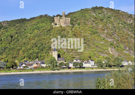 Maus Castle Above The Village Of Wellmich, Near Town Sankt Goarshausen, Upper Middle Rhine Valley, Germany - Stock Photo