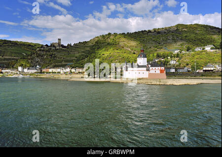 Pfalzgrafenstein Castle, Toll Castle On The Island Falkenau, Town Kaub In The Background, Upper Middle Rhine Valley, - Stock Photo