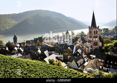 Town Bacharach In The Middle Rhine Valley And Vine Region, Upper Middle Rhine Valley, Germany - Stock Photo