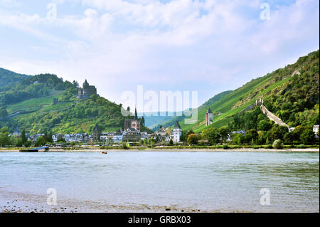 Town Bacharach With Town Wall In The Middle Rhine Valley And Stahleck Castle, Upper Middle Rhine Valley, Germany - Stock Photo