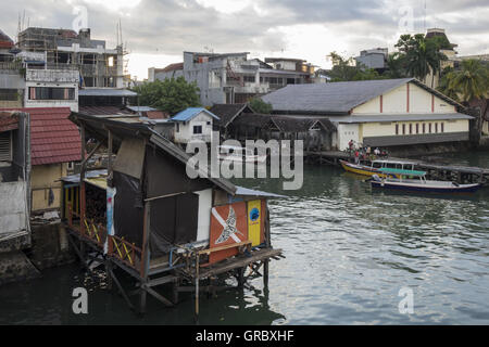 View Over Small Harbour For Taxi Boats To The Islands Of Makassar, Ujung Pandang, Southsulawesi, Indonesia, In The - Stock Photo