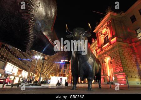 Bull And Bear Sculpture At Frankfurt Stock Exchange