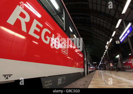 Regional Commuter Train Waiting At Frankfurt Central Railway Station - Stock Photo