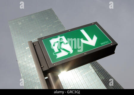 Emergency Ext Sign With Ecb European Central Bank Highrise - Stock Photo
