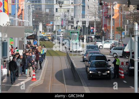 Swiss German Border With Customs - Stock Photo