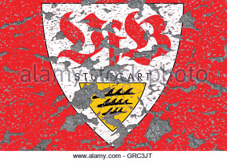 Emblem Of Vfb Stuttgart On An Eroding Wall - Stock Photo