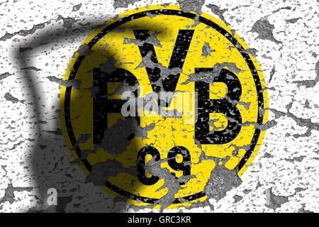 Eroding Logos Of Soccer Club Bvb Borussia Dortmund - Stock Photo