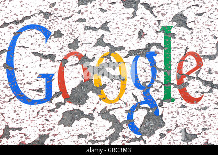 Eroding Google Sign On A Wall - Stock Photo