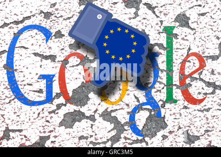 Eroding Google Sign On A Wall With Dislike Icon And Flag Of Eu - Stock Photo