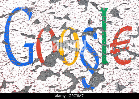 Modified Google Sign On An Eroding Wall - Stock Photo