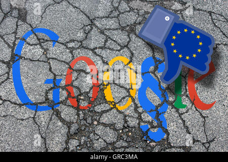 Eroding Modified Google Sign On An Eroding Pavement With Dislike Icon And Flag Of Eu - Stock Photo