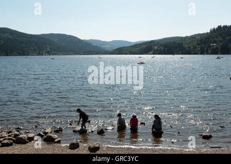 People At Lake Titisee During A Hot Summer Day - Stock Photo
