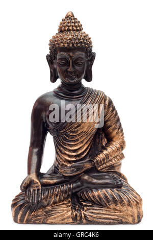 Bronze Buddha Over White Background - Stock Photo