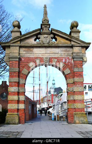 Harbor Gate In Emden - Stock Photo