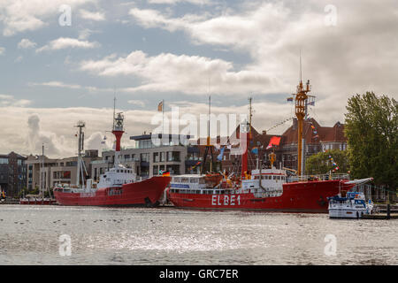 Lightship Borkum Riff And Elbe 1 In The Old Inland Port - Stock Photo