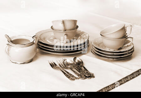 Coffee Crockery And Cutlery On A Table - Stock Photo