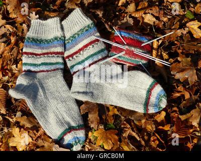 Hand-Knitted Woollen Socks - Stock Photo