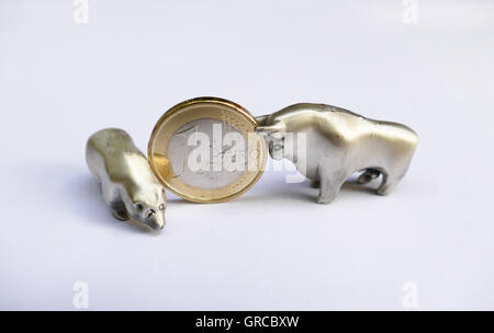 Bull And Bear With A Euro Coin, Symbol Stock Market - Stock Photo