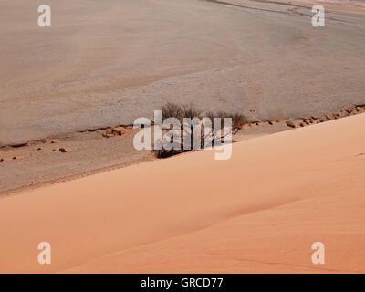 View Down From Dune 45, Sossusvlei, Namib Desert - Stock Photo