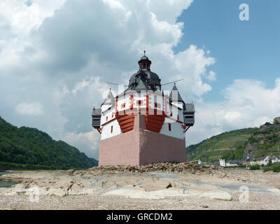 Pfalzgrafenstein Castle On The Island Of Falkenau In The Rhine,Formerly A Toll Castle In The Upper Middle Rhine - Stock Photo