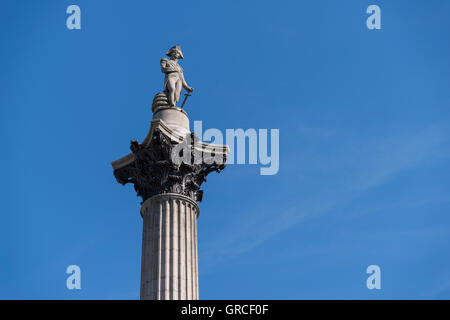 Statue of Horatio Nelson, 1st Viscount Nelson, Trafalgar Square, London - Stock Photo