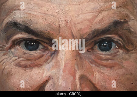 Eyes of Tony Blair former Prime Minister of the UK, part of oil painting by Alastair Adams, National Portrait Gallery, - Stock Photo