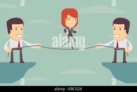 Vector woman over an abyss. people help each other - Stock Photo