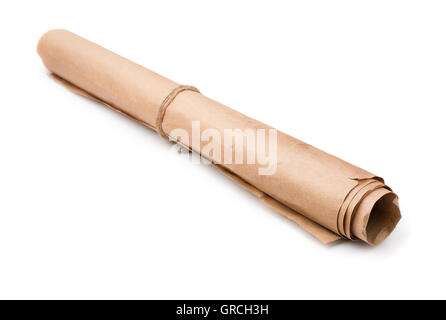 Roll of used brown wrapping paper isolated on white - Stock Photo