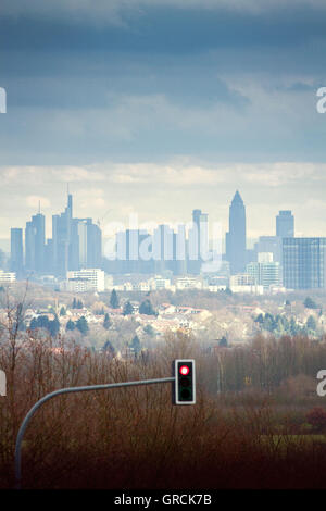 Red Light In Front Of The Frankfurt Skyline - Stock Photo