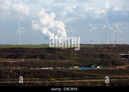 Brown Coal Mining Garzweiler With Coal Power Plants And Wind Farms - Stock Photo