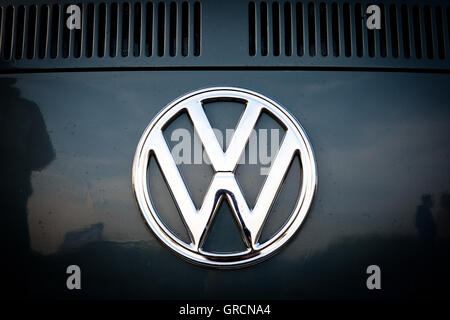 Volkswagen Brand Logo On Vw Bus T2 - Stock Photo