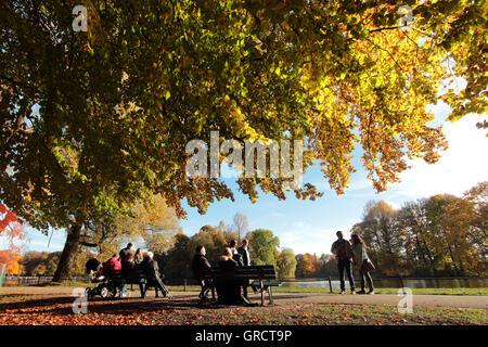 Autumn Impressions At Englischer Garten In Munich - Stock Photo