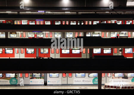 Regional Commuter Trains At Munich Central Railway Station During Night - Stock Photo