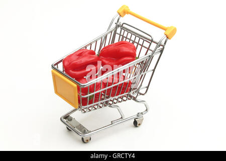 Red Hot Habanero Chili Peppers In A Shopping Cart - Stock Photo