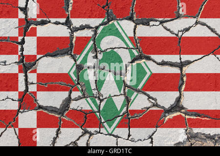 Sign Of Werder Bremen On Eroding Pavement - Stock Photo