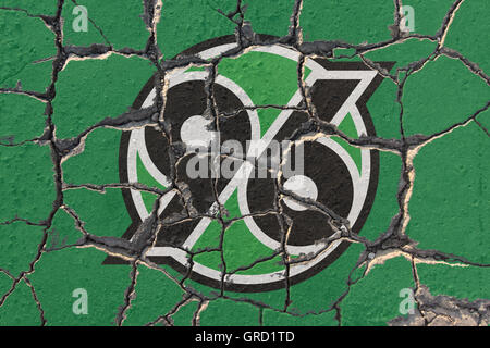 Sign Of Hannover 96 On Eroding Pavement - Stock Photo