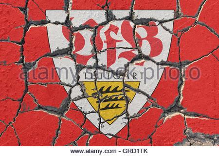 Sign Of Vfb Stuttgart On Eroding Pavement - Stock Photo