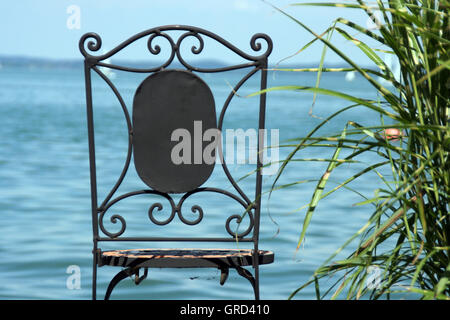 Lone Chair On The Chiemsee - Stock Photo