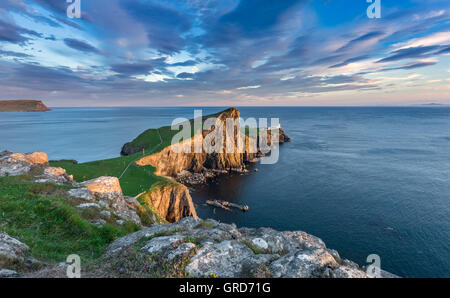 Neist Point Lighthouse near Glendale on the West Coast of the Isle of Skye in the Highlands of Scotland - Stock Photo