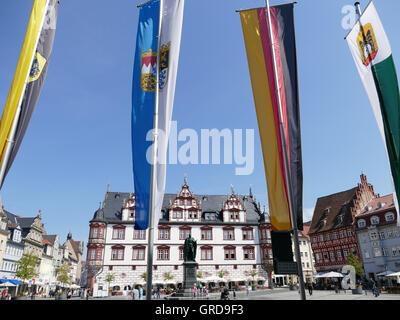 Coburg, Marketplace Flagged, Upper Franconia - Stock Photo