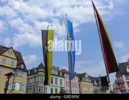 Coburg, Marketplace Flagged, Upper Franconia - Stock Photo