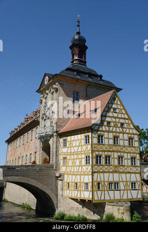 Old Town Hall, Bamberg, Upper Franconia, Bavaria, Germany, Europe - Stock Photo
