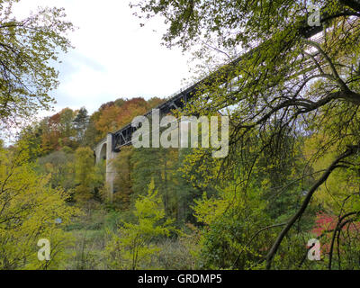 Viaduct In Autumn Forest, Palatinate - Stock Photo